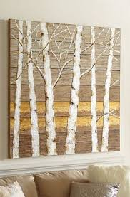 painting artwork on wood landscape of trees painted on recycled vermont barn board wood