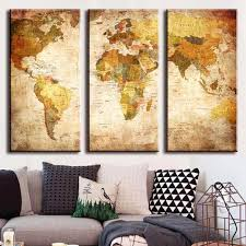 Wholesale Modern Home Decor 3 Piece Large Vintage World Map Canvas Prints Painting Modern Home