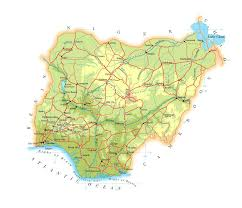 nigeria physical map physical and road map of nigeria nigeria physical and road map