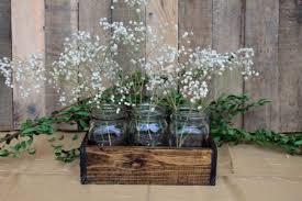 jar table decorations wood crate centerpiece wedding centerpiece wood crate with