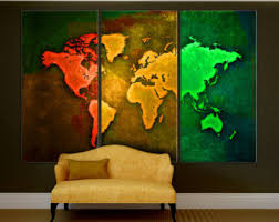 abstract teal world map canvas print wall art 3 panel split
