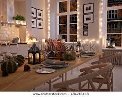 cozy nordic kitchen apartment thanksgiving autumn stock