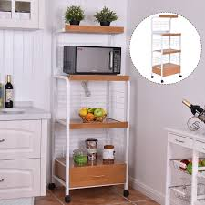Furniture Kitchen Storage 3 Tier Rolling Kitchen Storage Cart W Electric Outlet Kitchen