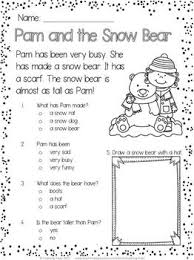 free winter reading comprehension passage pam and the snow bear