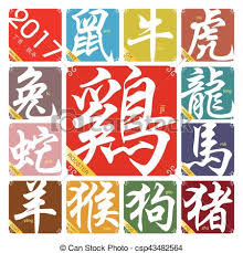 2017 chinese zodiac sign vector chinese zodiac signs with the year of the rooster in