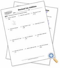 setup u0026 add lists of decimals worksheetworks com