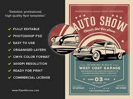 old classic car show flyer template flyerheroes