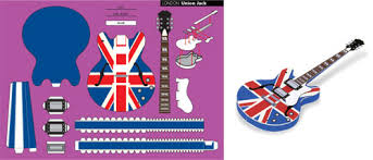 Papercraft Guitar - free printable union electric guitar craft ideas