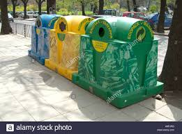 Furniture Recycling by Green Yellow Blue Recycling Plastic Bin Street Furniture