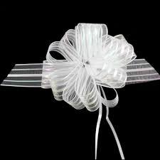 pull bow ribbon 50 pcs large size 5cm white organza pull bow ribbon wedding car room