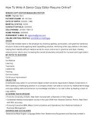 resume editor how to write a senior copy editor resume online