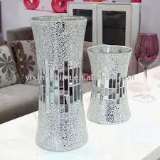 Silver Vases Handicraft Silver Decorative Cheap Mirror Flower Glass Mosaic