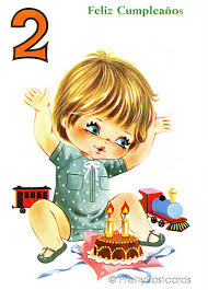 vintage birthday card for a big eyed boy 2 years old a photo on