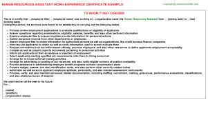 human resources assistant work experience certificate