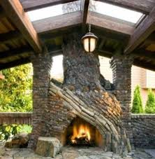 patio designs for outdoor fireplaces bricks and stones