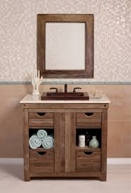Unique Bathroom Vanities Ideas by Retro Walnut Open Shelves Vanity Cabinet With White Marble Top Of