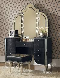 com aico hollywood s vanity with bench set 3 piece in black iguana by michael amini home kitchen