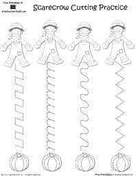 scarecrow cutting practice a to z stuff printable pages