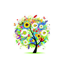 colorful flowers tree design air wallpaper
