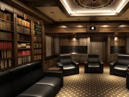 amazing reading room design idea with black leather couches and