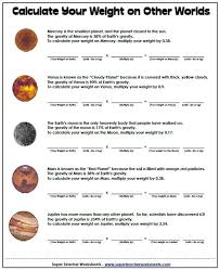 weight on other planets worksheet free worksheets library