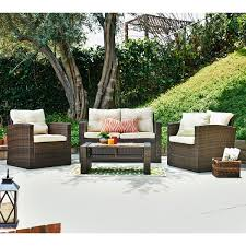 Discount Wicker Patio Furniture Sets Roatan Tan 4 Piece Outdoor Wicker Conversation Set Thy Hom