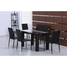 Tempered Glass Dining Table New Black White Dining Table Set Tempered Glass Top 4 Faux Leather