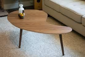 Boomerang Coffee Table Mid Century Modern Coffee Table Kidney Bean Walnut