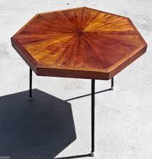 Modern Dining Table Mid Century Modern Table Wood Inlaid Metal Legs Octagon Mid