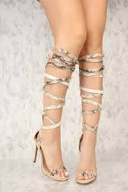snake strappy open toe gladiator heels faux leather