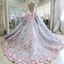 Wedding Dresses Ball Gown Charming Colorful Wedding Dresses Ball Gown 3d Floral Appliques