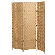 amazon com mygift folding woven paper rattan room divider 3