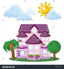 cartoon background cute house stock vector 202265770 shutterstock
