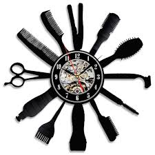 creative clocks amazon com creative gift idea for barber hair salon vinyl wall