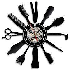 creative clocks amazon com creative gift idea for barber hair salon vinyl wall