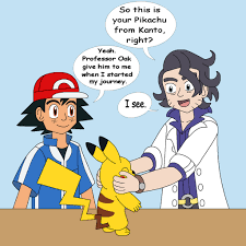 professor sycamore ash and his pikachu by mcsaurus on deviantart