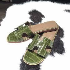 pre order hermes oran womens sandals alligator crocodile olive