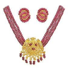 beads gold necklace images Buy surat diamonds 3 line real ruby beads gold plated pendant jpg