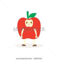 editable fruit apple costumes fruit kids vector stock vector 289174541