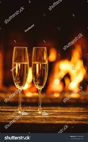 two glasses sparkling champagne front warm stock photo 324365468