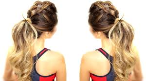 3 workout everyday hairstyles braids messy bun ponytail video