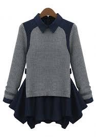 navy sweaters grey sleeve contrast navy lapel ruffle sweater abaday com