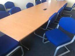 Beech Boardroom Table Beech Conference Table U0026 12 Blue Canter Leaver Chairs In