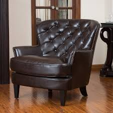 Tafton Tufted Oversized Brown Leather Club Chair By Christopher