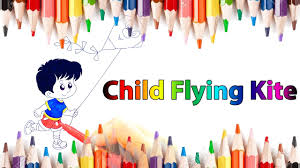 child flying kite color page how to draw for kids video learn