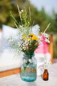 Ball Jar Centerpieces by Blue Ball Jar Wildflower Wedding Flowers Jars Wildflowers