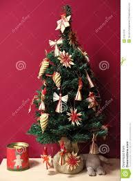 raffia decoratedll tree royalty free stock