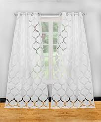 set of two 2 textured pure white sheer window curtain panels