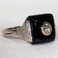 vintage art deco onyx diamond ring in 18k white gold victoria