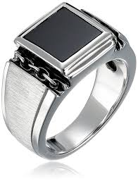 mens silver rings men s sterling silver square onyx ring